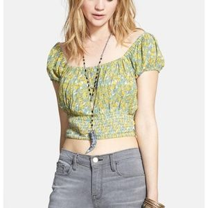 Free People Floral Printed Button Smocked Top M